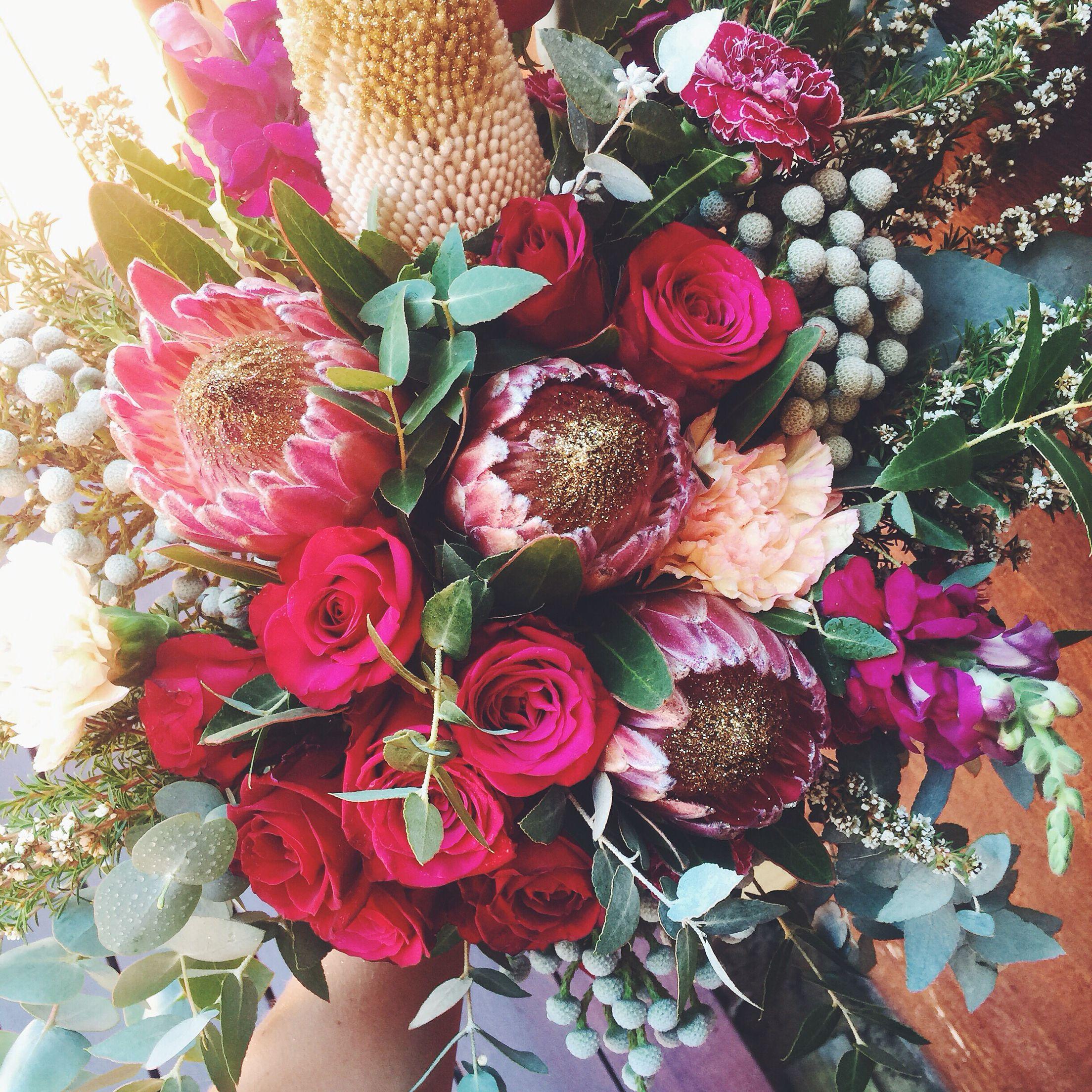 Gold glitter Protea unstructured bouquet | eventually | Pinterest ...