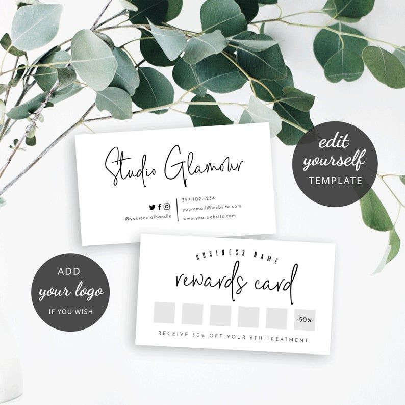 Printable Loyalty Card Design Minimalist Rewards Card Etsy Loyalty Card Design Loyalty Card Template Loyalty Card