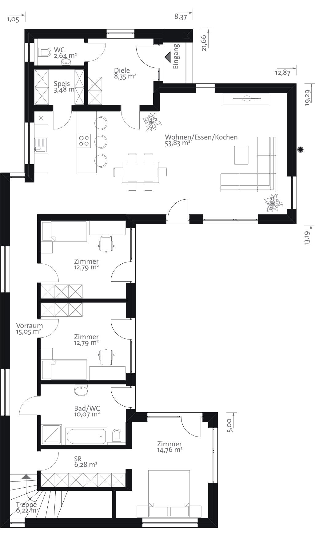 Erdgeschoss haus front design flachgrundrisseg  thermomix  pinterest  bungalow house and