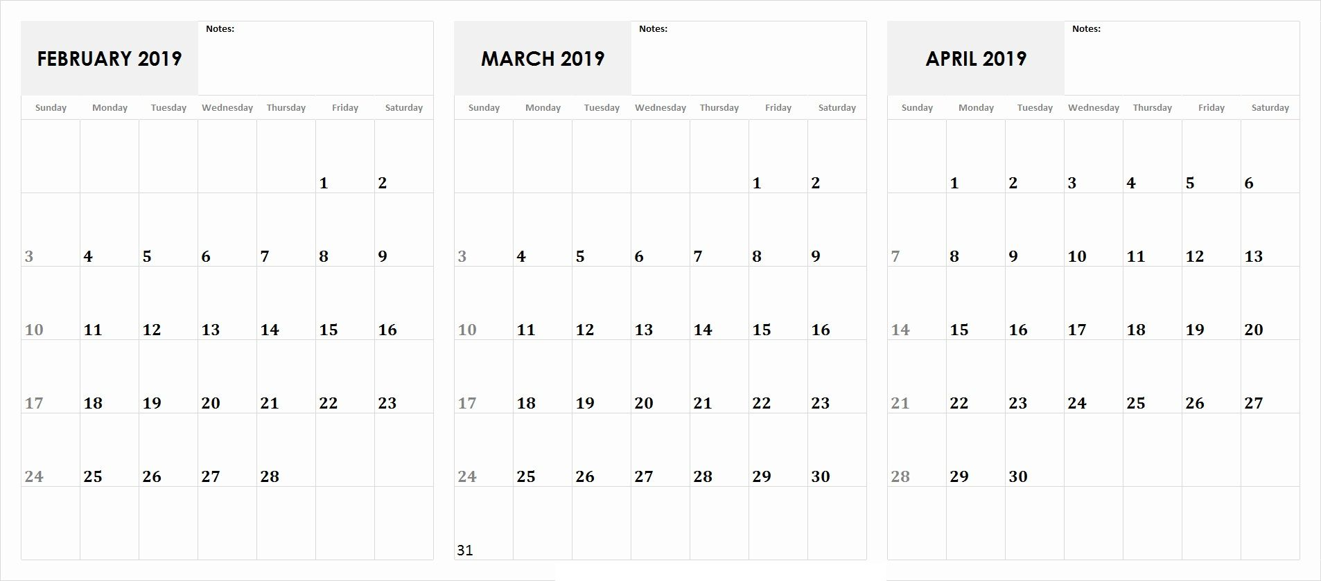 February March April 2019 Calendar 2019 Calendar Calendar