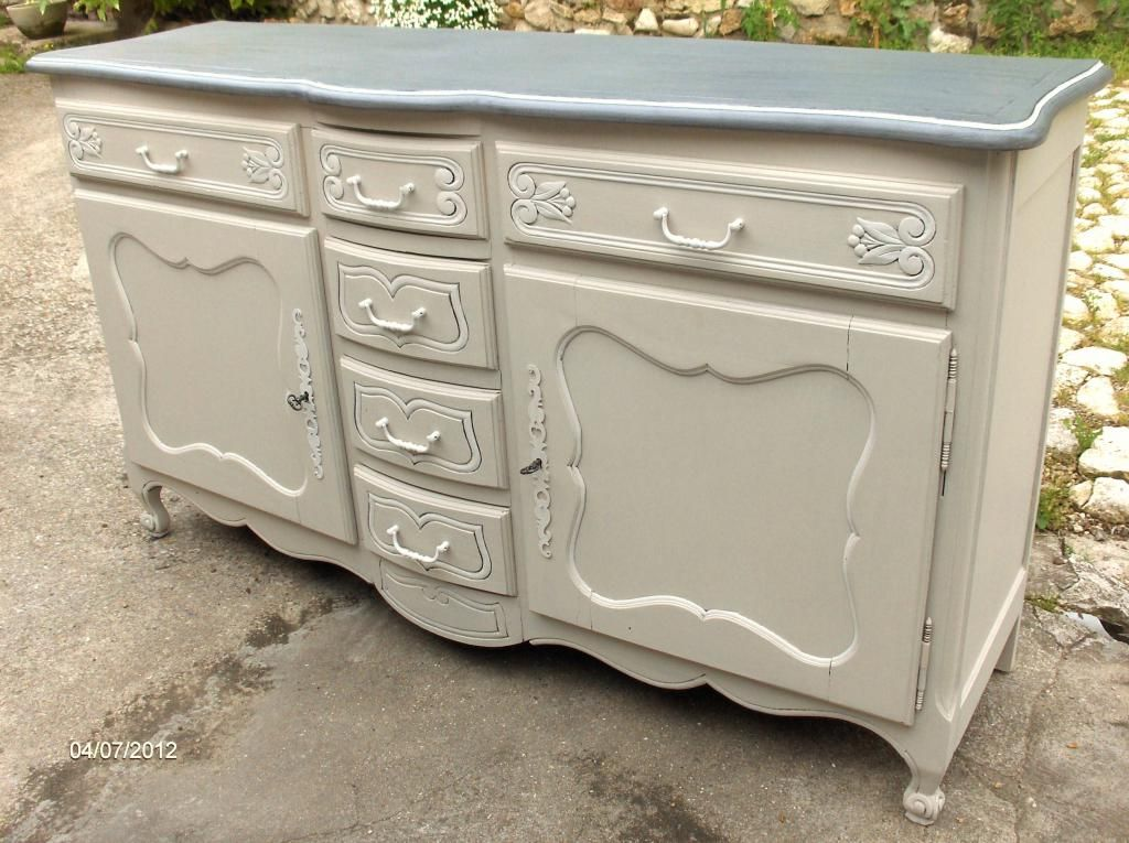 Buffet patin ancien style louis xv en ch ne style louis for Meuble tv xxl style louis philippe en pin
