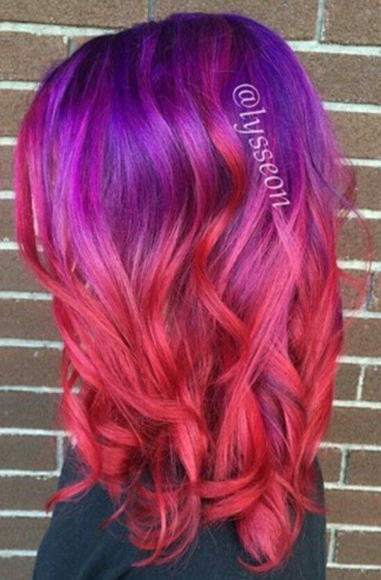 Purple To Red Ombre Red Ombre Hair Dyed Hair Purple Ombre Hair