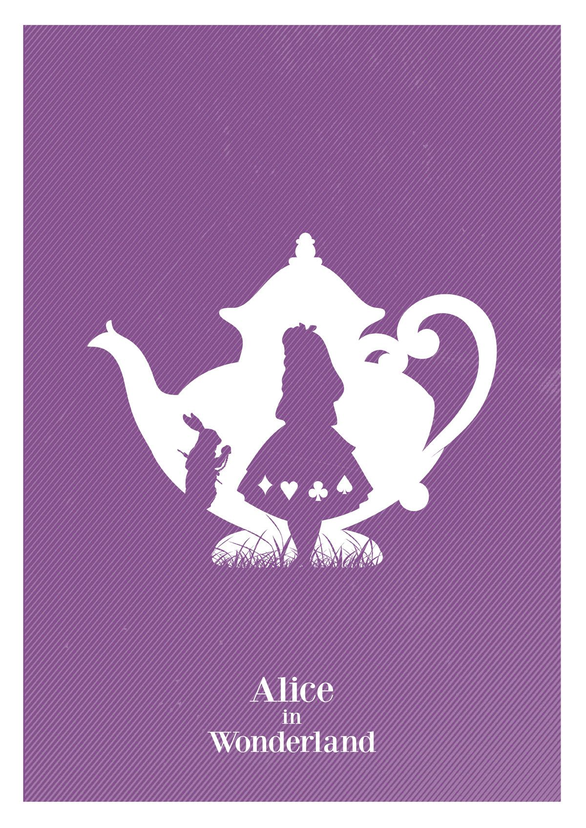 Alternative Alice in Wonderland minimalist giclee art