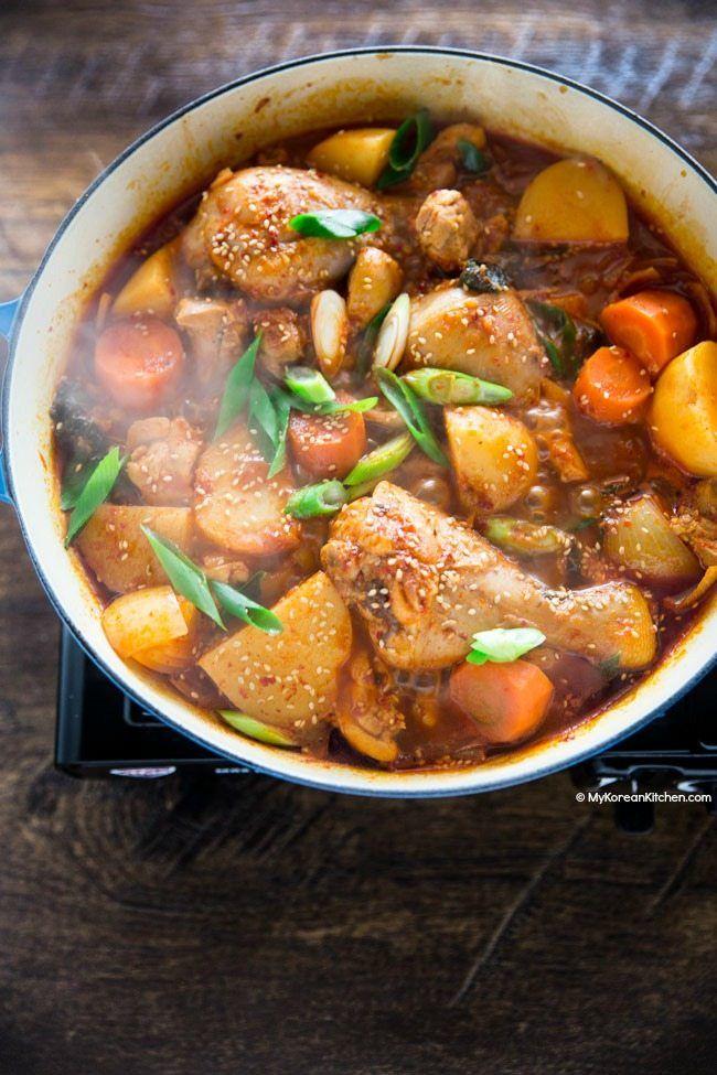 Spicy Korean Chicken Stew Recipe Korean Chicken Spicy Korean
