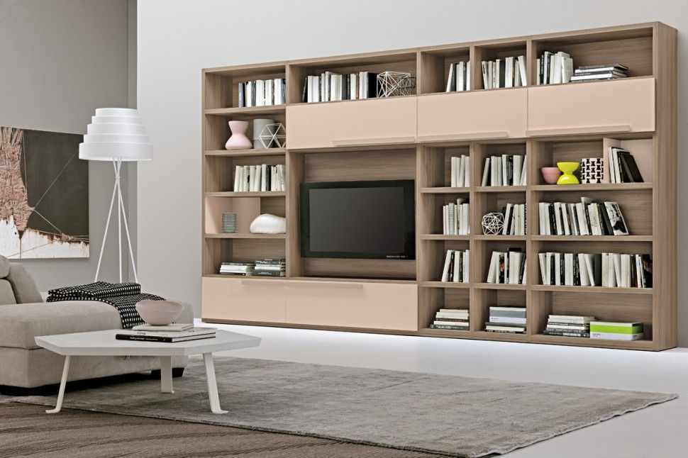 modern living room wall units with storage inspiration | bookshelves