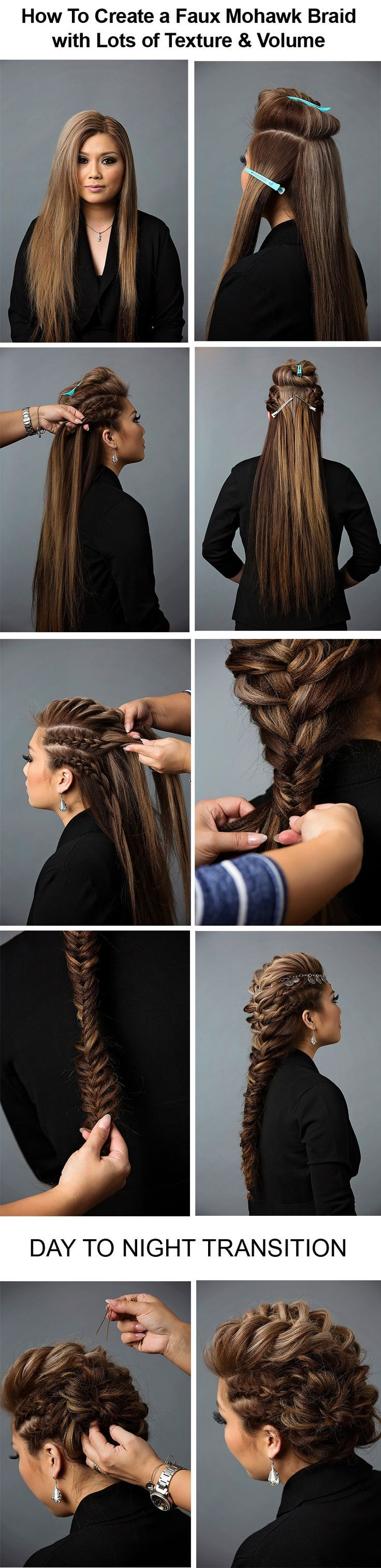 Day to night hairstyle mohawk braid into fishtail bun hair