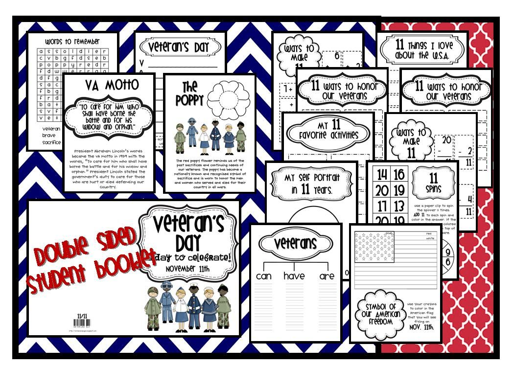 Veteran's Day booklet for 11/11 Lory's Page Veterans day