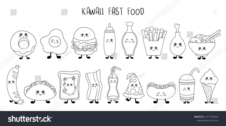 Set Of Kawaii Fast Food Black Line Sweets Junk Food Sushi
