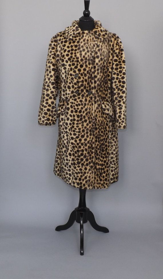 7af1f9949f91 Vintage 1950s 60s Faux Fur Cheetah Spotted Coat by alicksandraflin ...