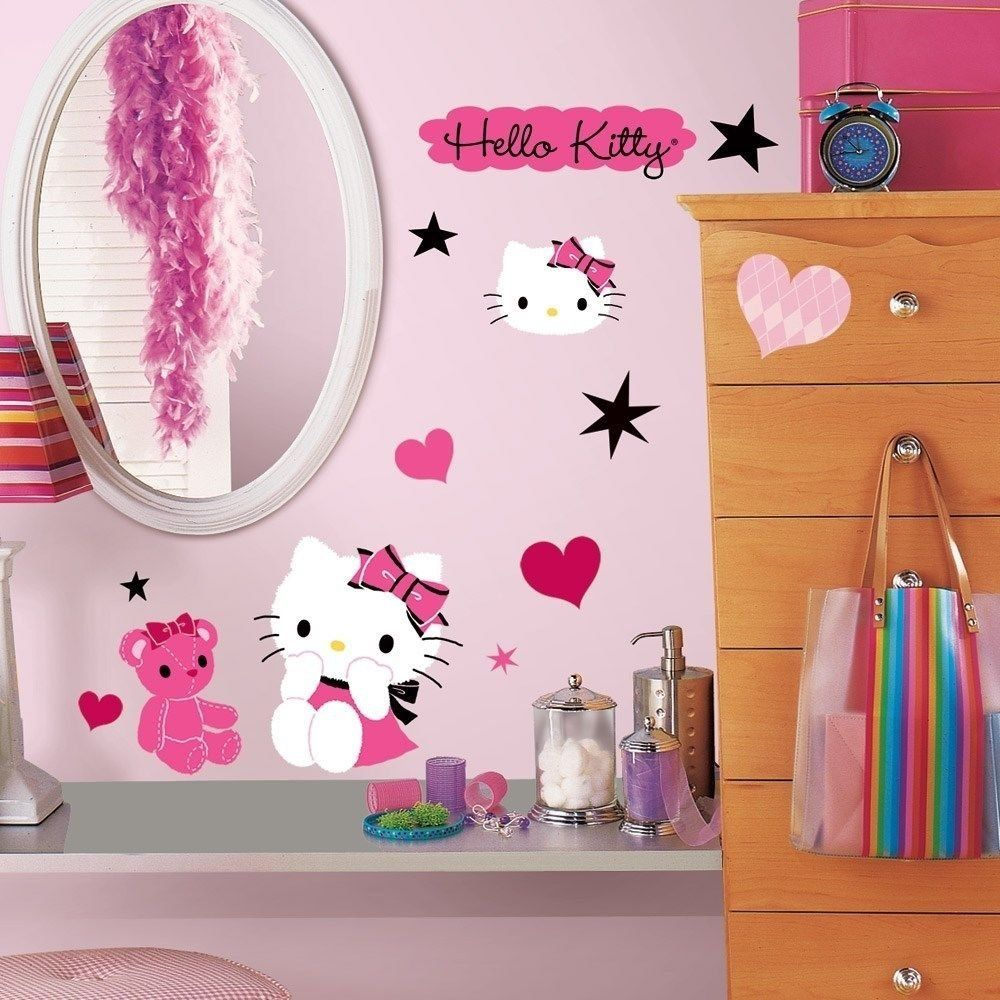 38 New Hello Kitty Couture Wall Decals Girls Bedroom Stickers Pink