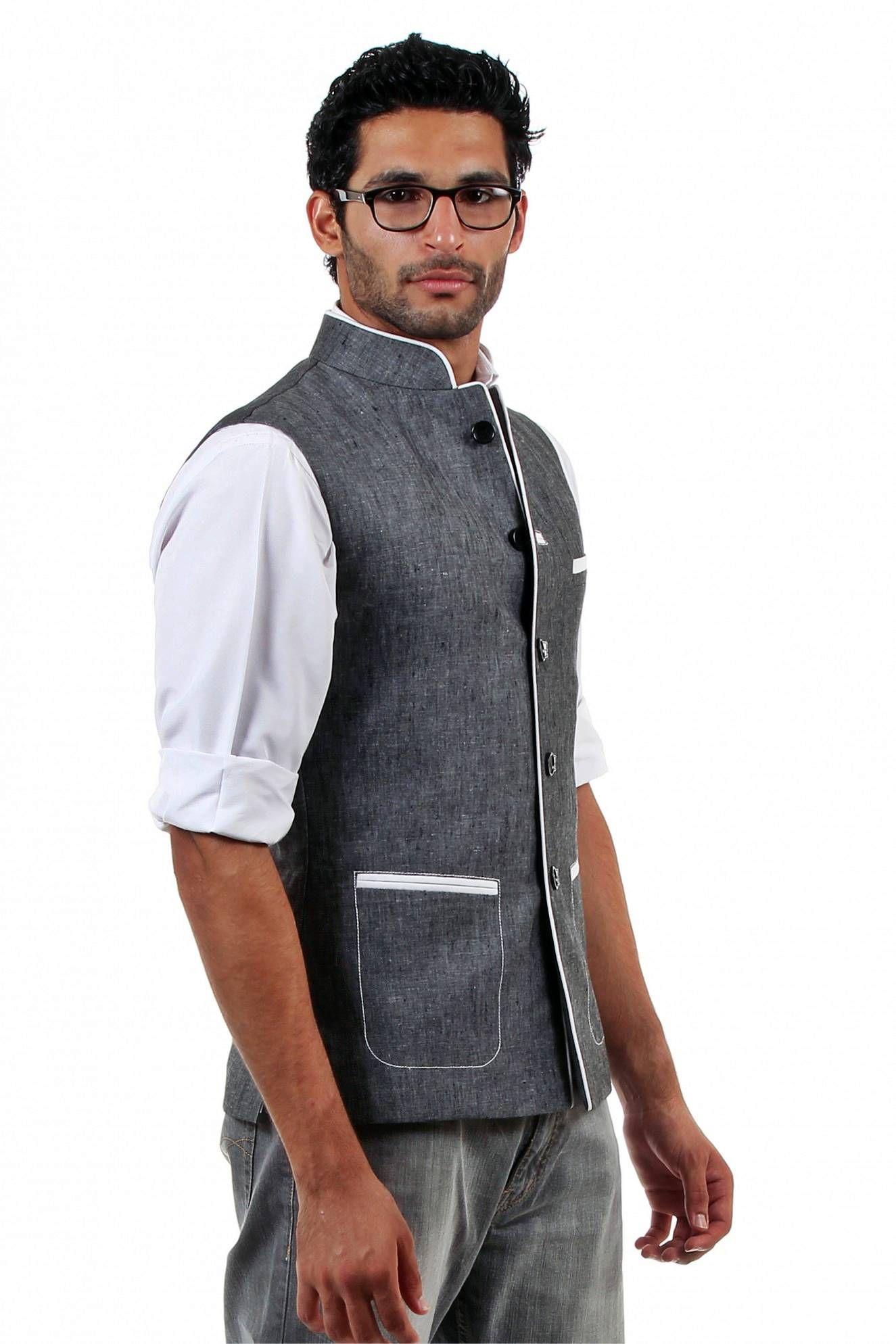 Traditional Indian Waistcoat Vest Black Hippie Nehru Jackets