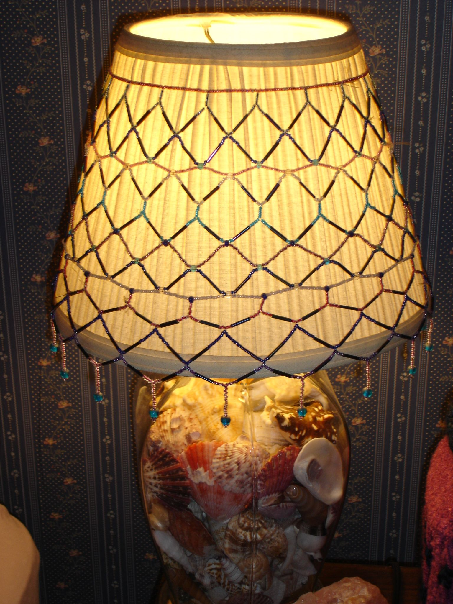 Beaded lampshade cover I made out of seed beads & bugle