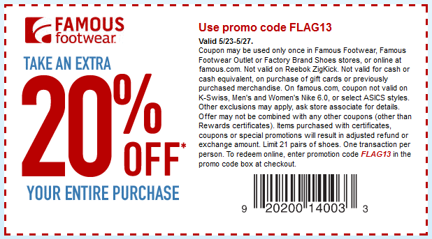 Pinned May 19th 20 Off At Famous Footwear Or Online Via Promo Code Flag13 Coupon Via The Coupons App Famous Footwear Free Printable Coupons Coupon Apps