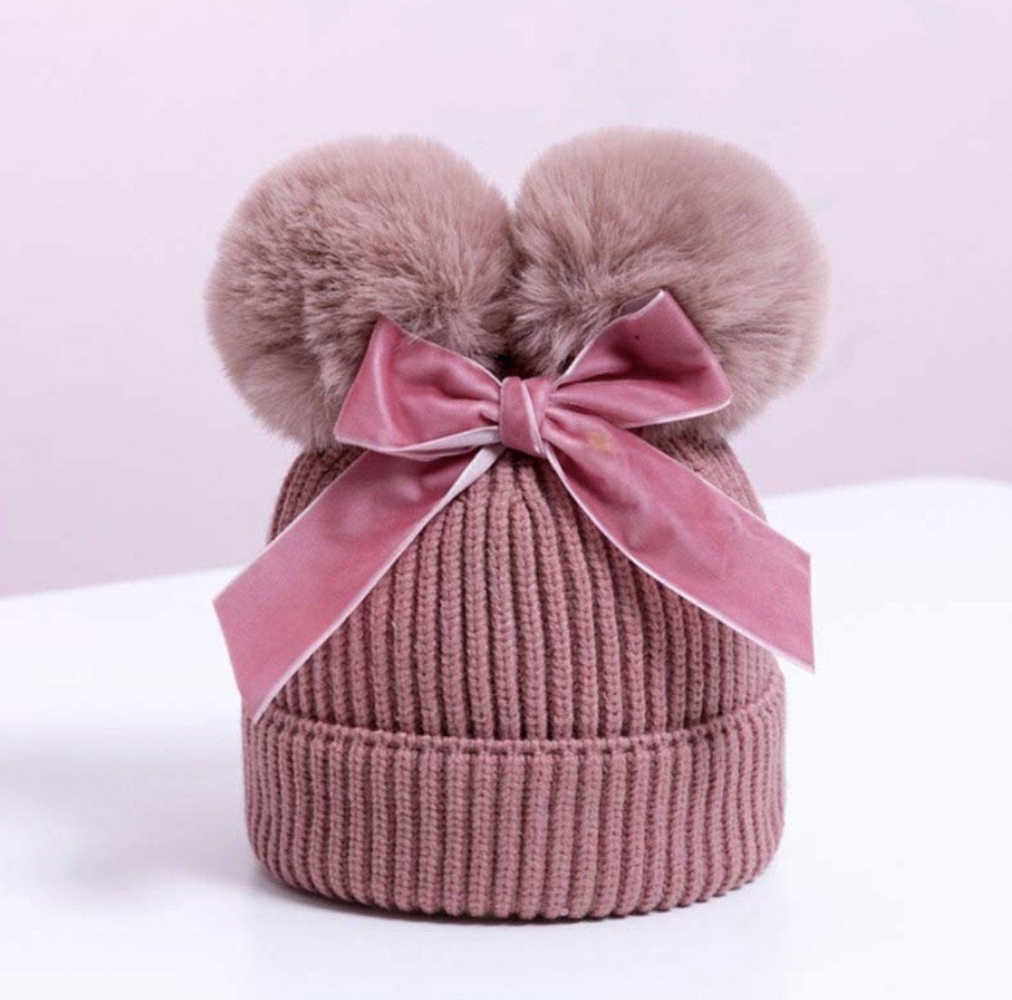 Photo of Baby Girl Knitted Pom Pom Hat, Baby Girl Warm Winter Hat (One Size 6M-24M)