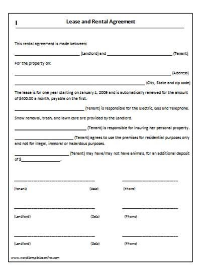 Basic Lease Template Indriam – Printable Rental Agreement Template