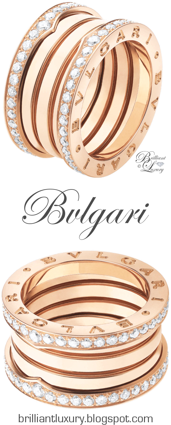 f934004f22fde Brilliant Luxury ♢ Bvlgari B.Zero1 4-band 18 kt pink gold ring with pavé  diamonds along the edge UDATED