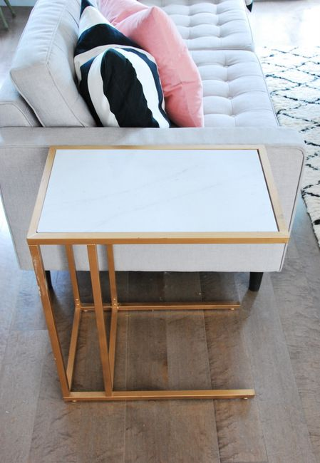 IKEA Vittsjo Hack Into A Gold And Marble Table Looks Super Chic