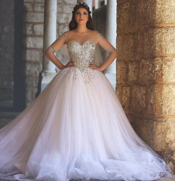 Gorgeous Sheer Ball Gown Wedding Dresses 2017 Puffy Beaded: 2020 Luxury Ball Gown Illusion Tulle Long Sleeves Wedding
