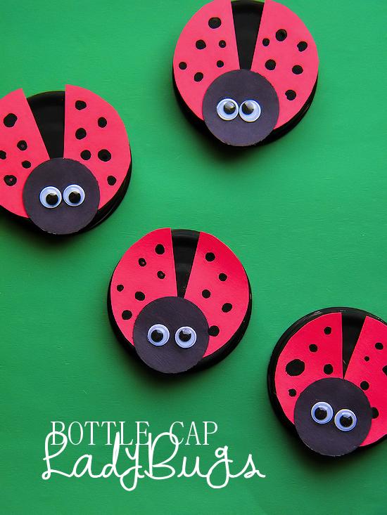 Bottle cap ladybugs spring kids craft animal crafts for Bottle cap craft ideas for kids