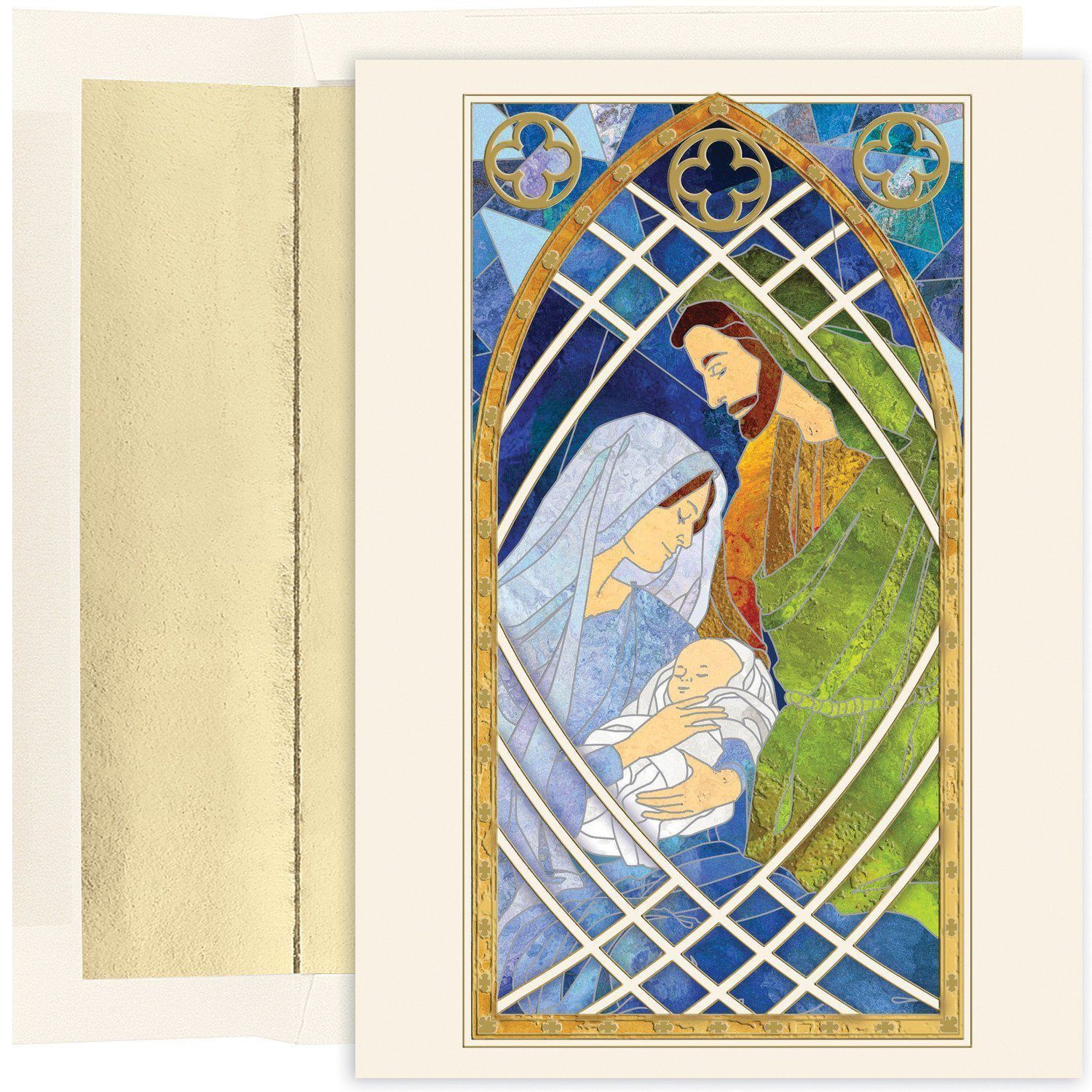 Christmas Card - Jesus Family Stained Glass #StainedGlassNativity ...