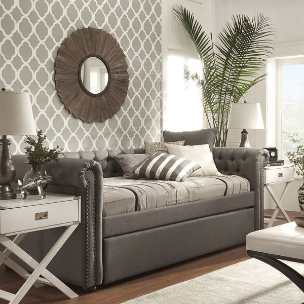 Knightsbridge Tufted Twin Scroll Arm Chesterfield Daybed And Trundle By Inspire Q Artisan Daybed With Trundle Guest Bedrooms Daybed Room