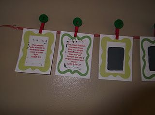 We did verses (and phrases) from the Christmas story. A new one each day.