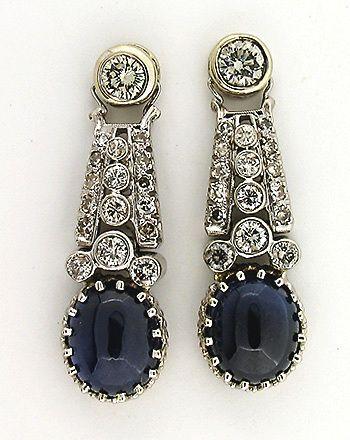 Estate Art Deco Sapphire Diamond Platinum | W.G. Earrings | EbaySeller Petersuchjewelers1137