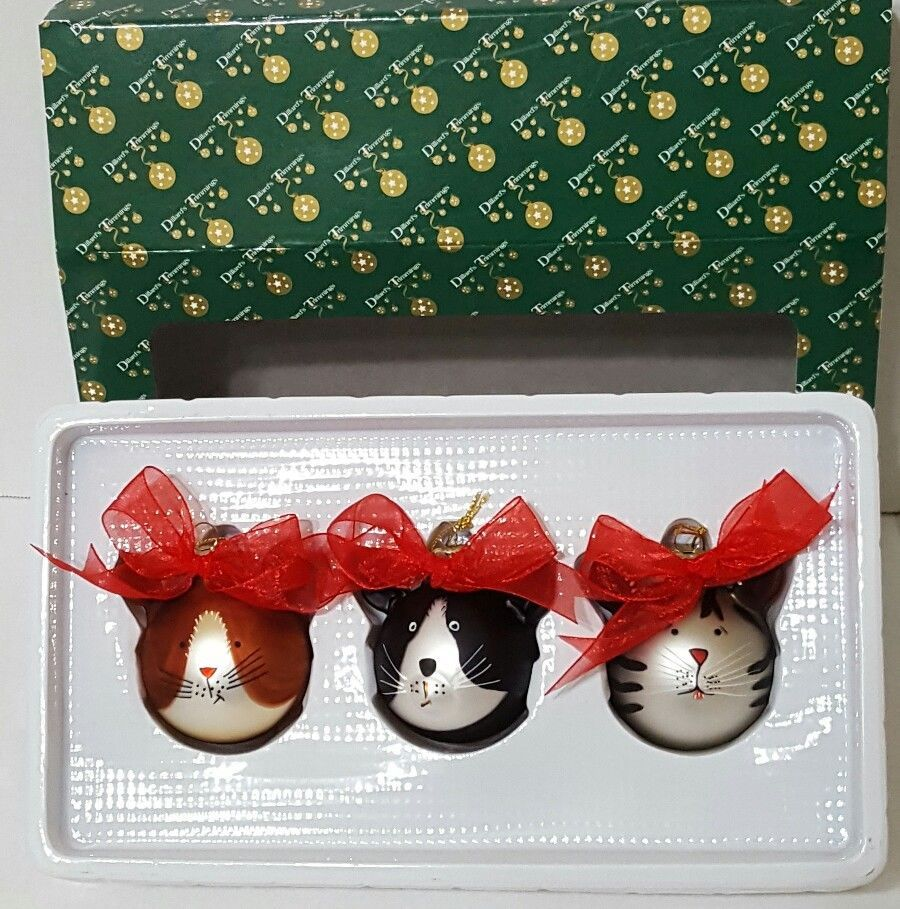 Glass cat ornaments - Christmas Kitty Cat Glass Ornaments Set Of Three Dillards Trimmings New Adorable