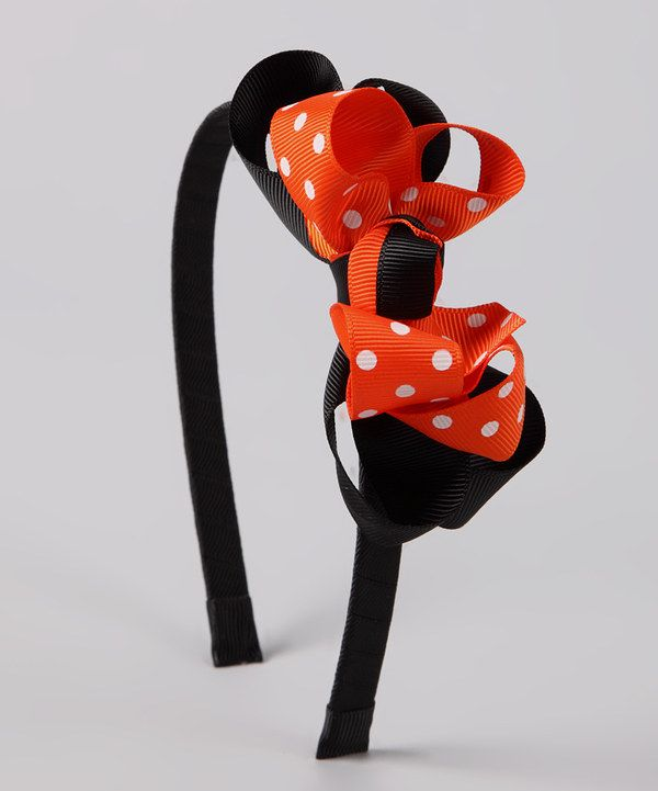 Take a look at this Orange & Black Polka Dot Headband on zulily today!