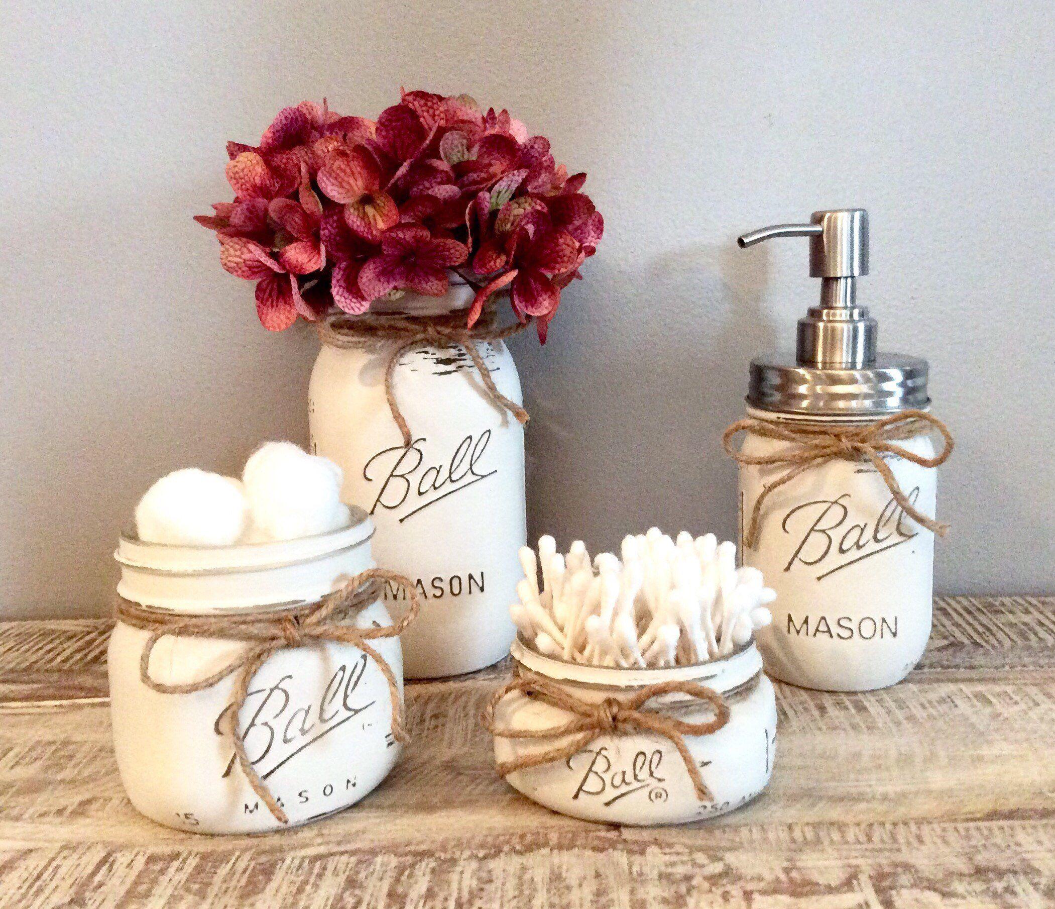 Mason Jar Bathroom Set, farmhouse bathroom, bathroom decor, mason jar decor, rustic decor, pink decor #masonjarbathroom