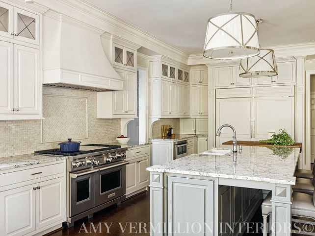 """Designer White Kitchens ice blue"""" granite countertop - before and after kitchen remodel"""