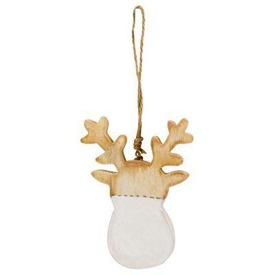 Anhänger Rentier Weiß Holz #weihnachtenholz