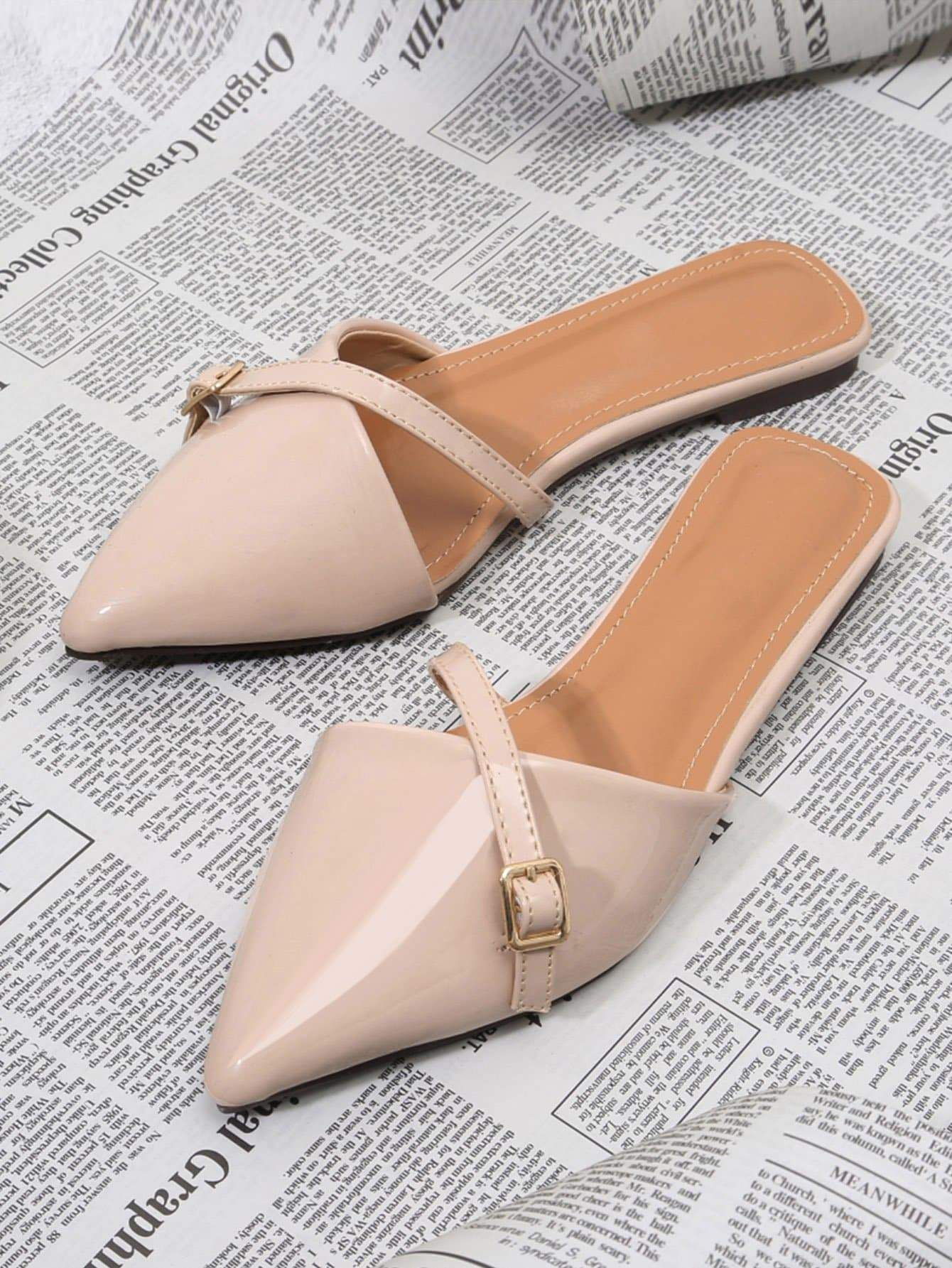 7f9182bd8 pointed toe pu flat slippers. #flats #shoes #women #fashion | bags ...