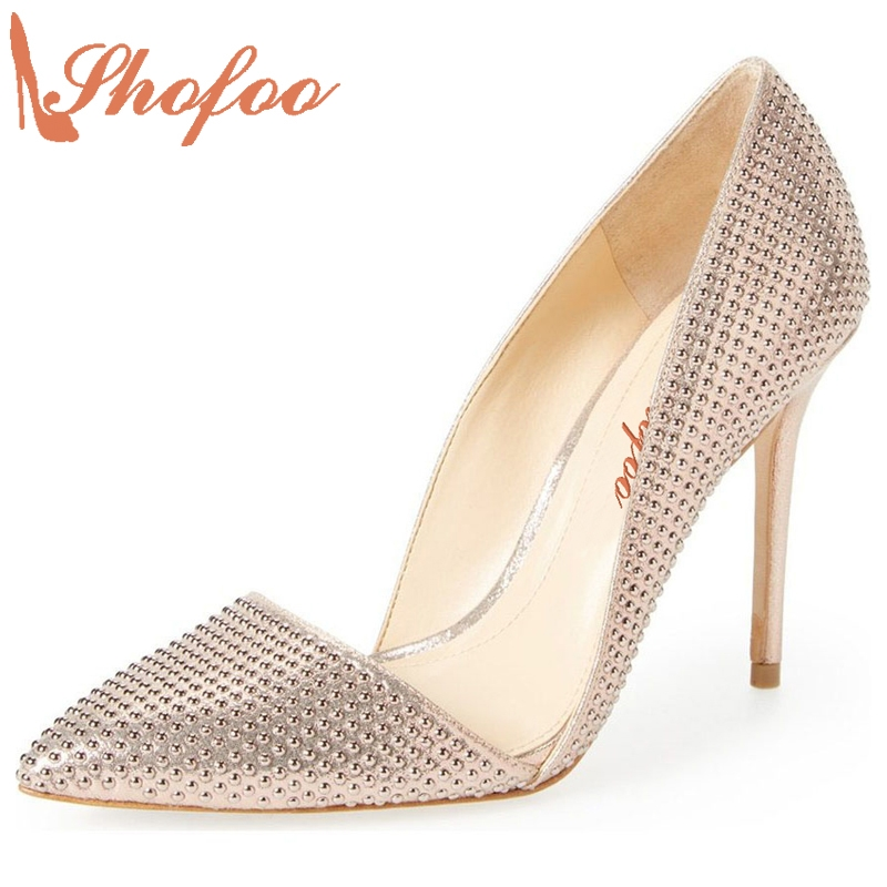 109.00$  Buy now - http://ali5y4.shopchina.info/go.php?t=32791282443 - Shofoo Women Elegant High Heels Pointed Toe Pumps With Crystal For Woman Wedding&Dress&Party&Evening Shoes, Plus Size 4-16.  #shopstyle
