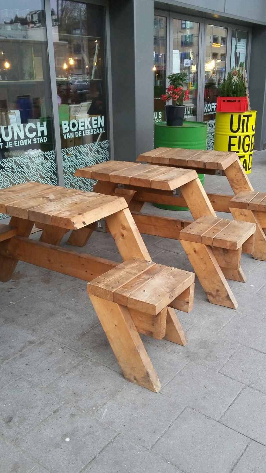 Wood work - how cool are these little 2 person picnic tables? I ...