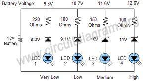 Simple 12V Battery Status Indicator Circuit Diagram