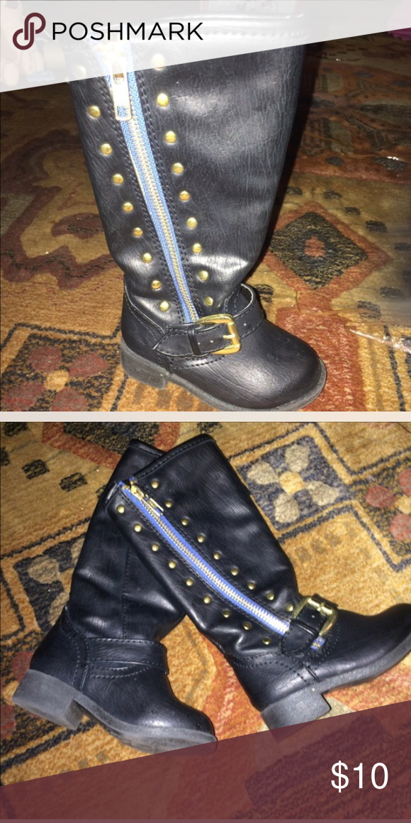 Black combat boots Black leather wit gold studs combat boots. It's a size 5c but more like 4c they run small Shoes Boots