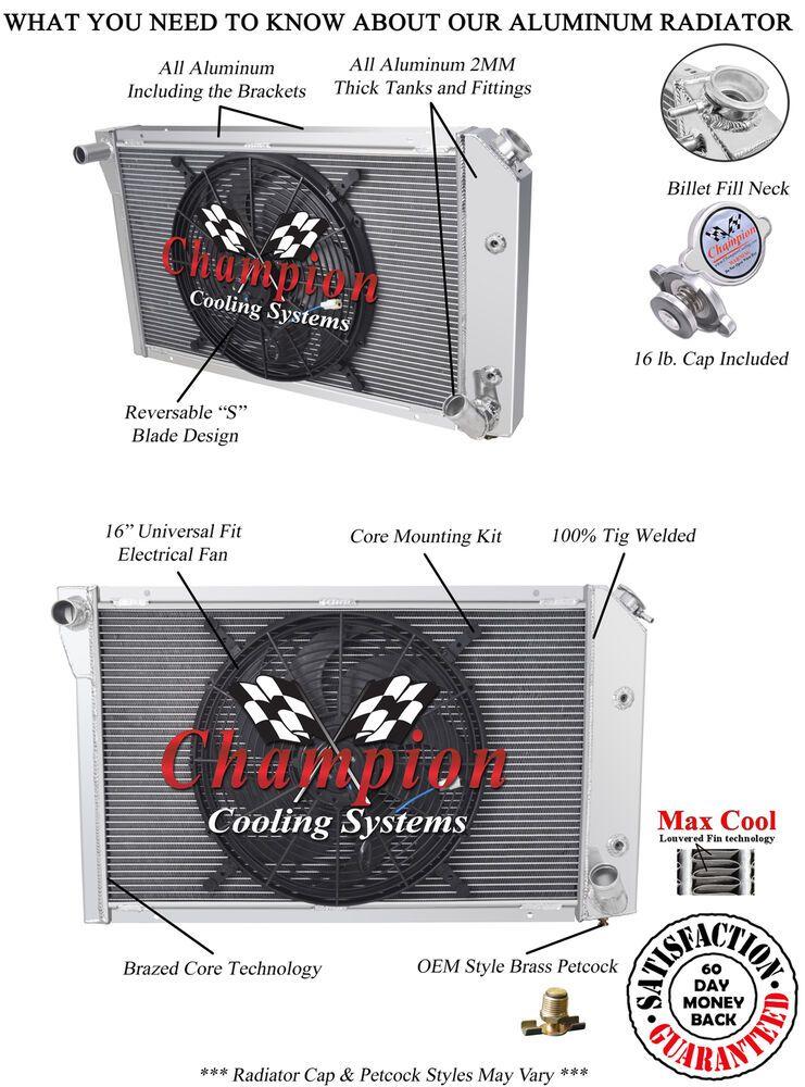"""eBay Sponsored 4 Row Discount Radiator W/ 16"""" Fan for"""