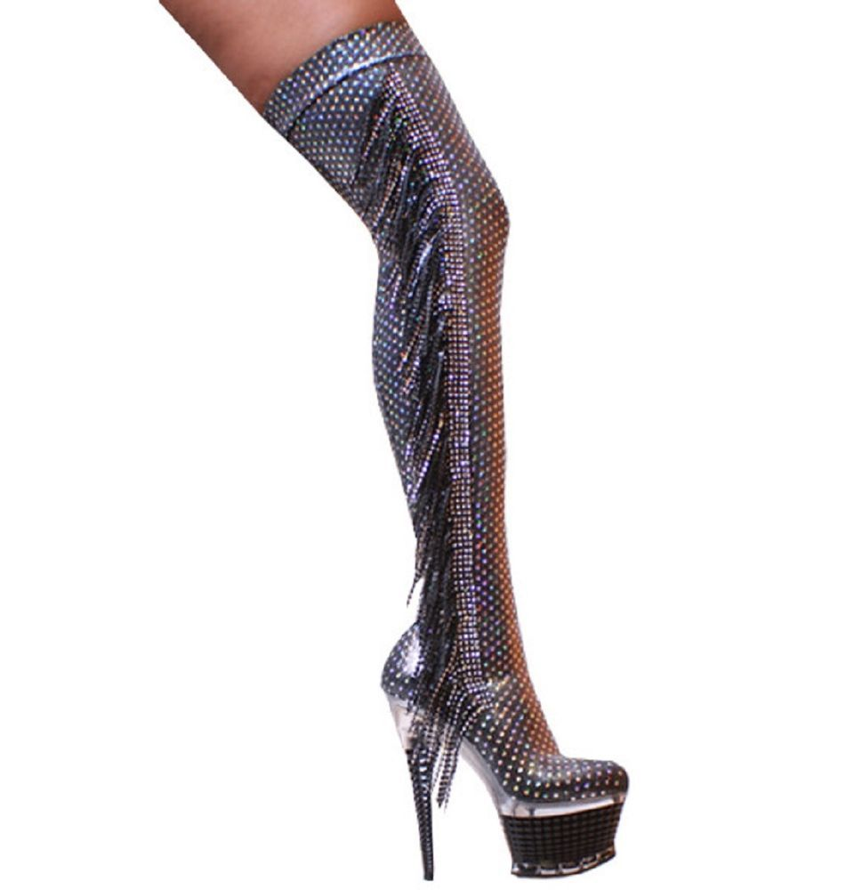 Kitty Paws Shoes Women's Custom Multi-Color 6 inch Stretch Thigh ...