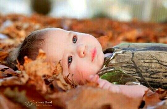 Camo leaves fall baby picture idea haden would die to do this with tanner