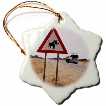 3dRose Namibia. Sign warning of a warthog crossing. -AF31 BJA0214 - Janyes Gallery, Snowflake Ornament, Porcelain, 3-inch