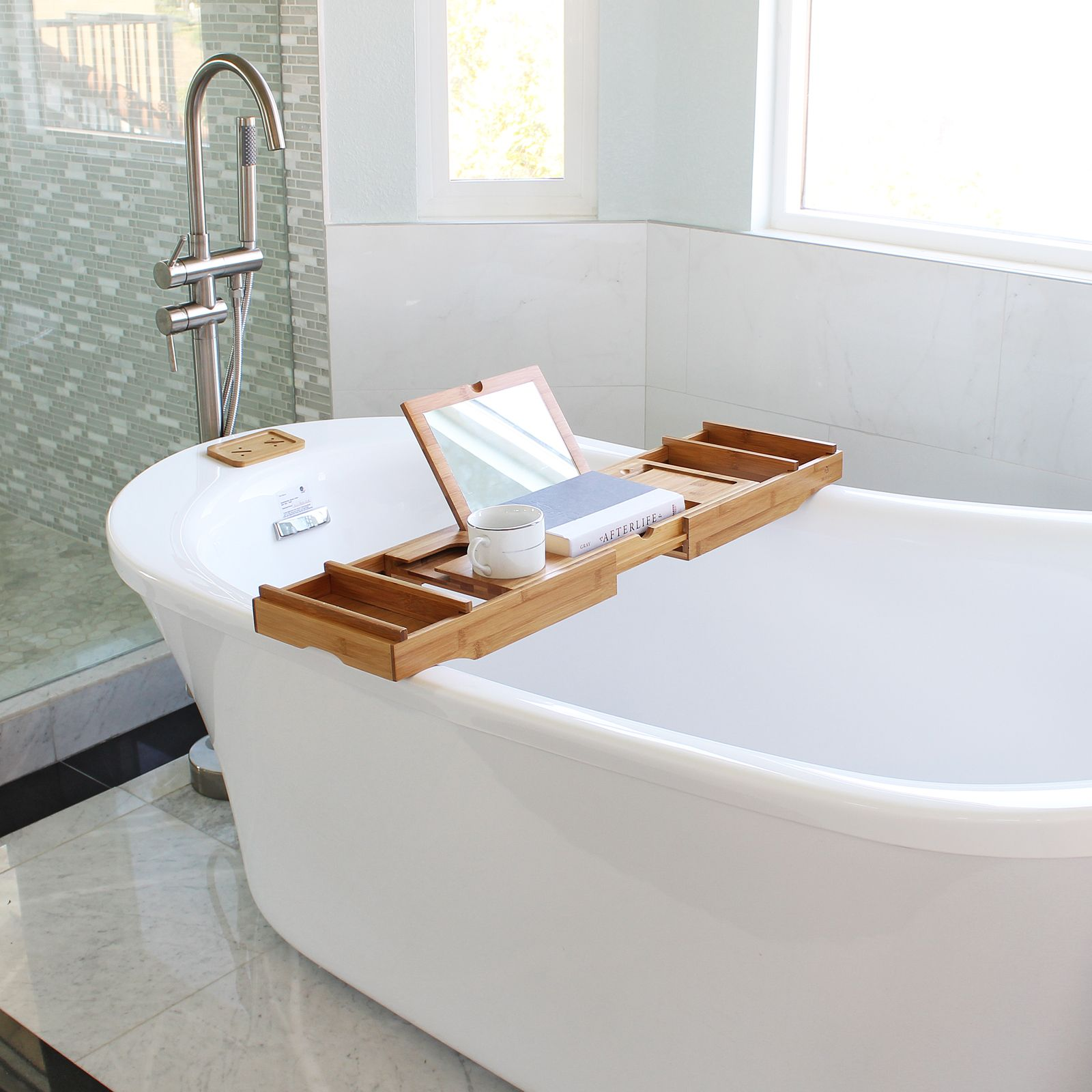 Welland Bamboo Bathtub Caddy, Expandable #bamboobathcaddy #bathcaddy # Bathtub #bathroom #bath