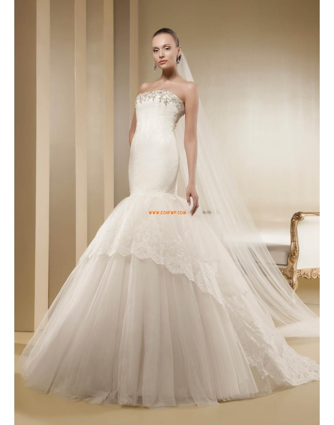 trägerloser Ausschnitt Tülle Sommer Brautkleider 2014