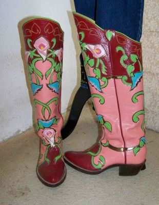 Calla Lily Hand Tooled Leather One of a Kind Custom Coral Western Cowboy Boots