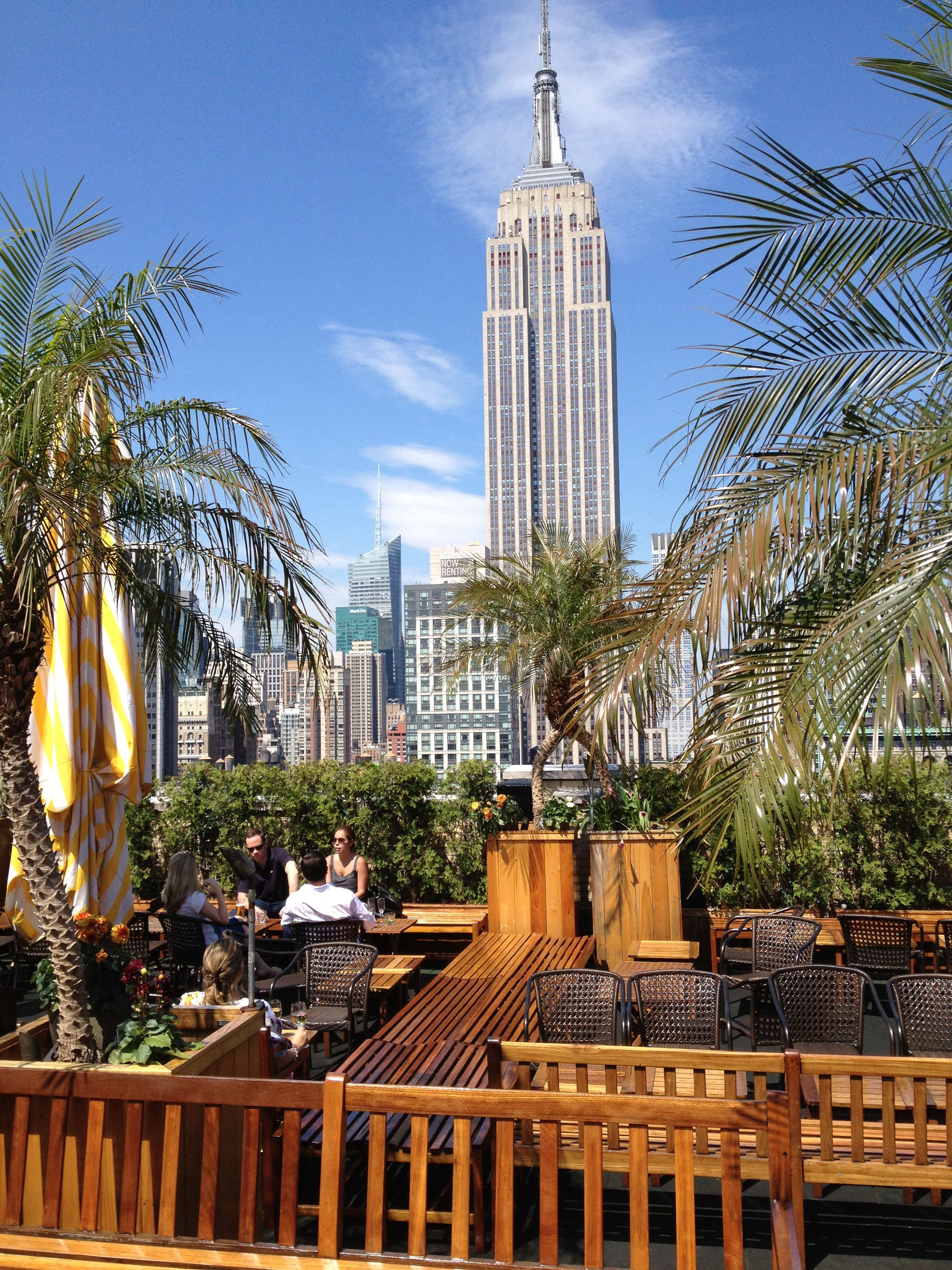 Rooftop Bar. Good Garden Bar With View Of Empire State Building York
