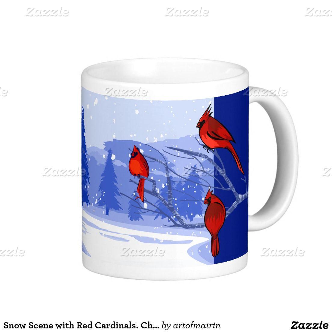 Snow Scene With Red Cardinals Christmas T Mug