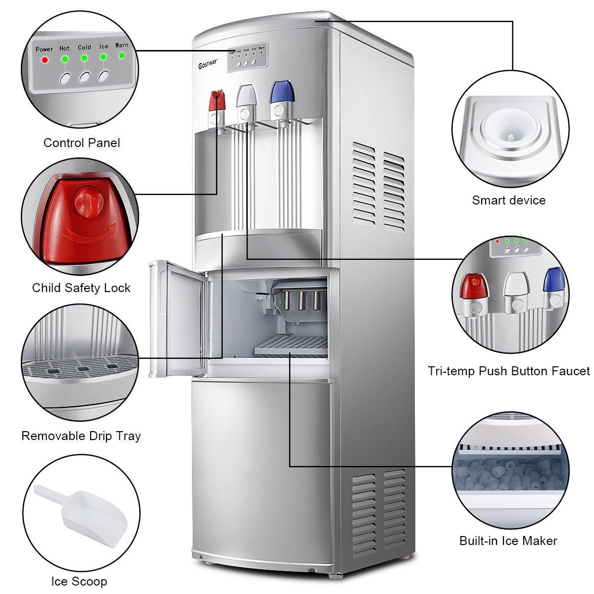 Top Loading Water Dispenser With Built In Ice Maker Machine With