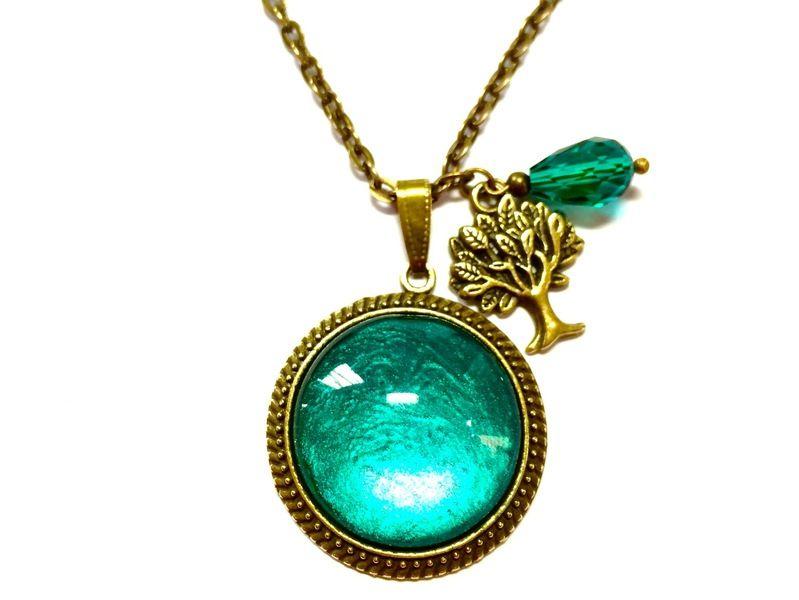 Kette Vintage rund - türkis - Baum & Perle Bronze von Schmuckzucker - handgemachter, individueller Schmuck - Ohrringe, Ketten und mehr auf DaWanda.com