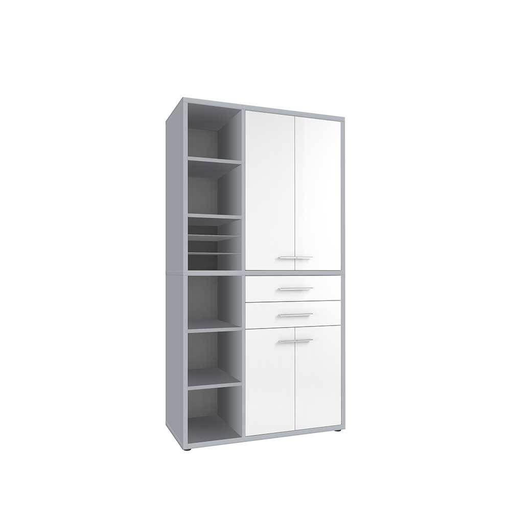 Büroschrank weiß  Büroschrank in Weiß Glas Grau modern Jetzt bestellen unter: https ...