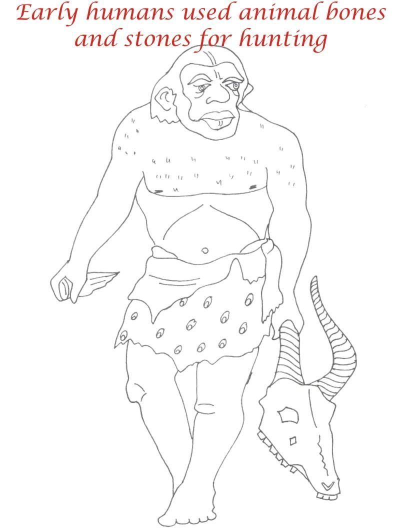 Early Human Coloring Pages